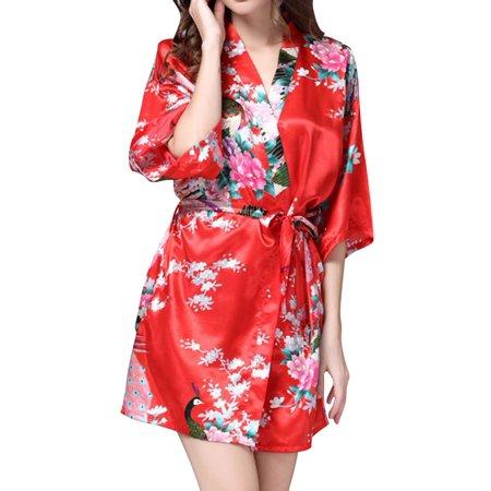 Starvnc Women Stain Silk V Neck Floral Tie Front Sleepwear