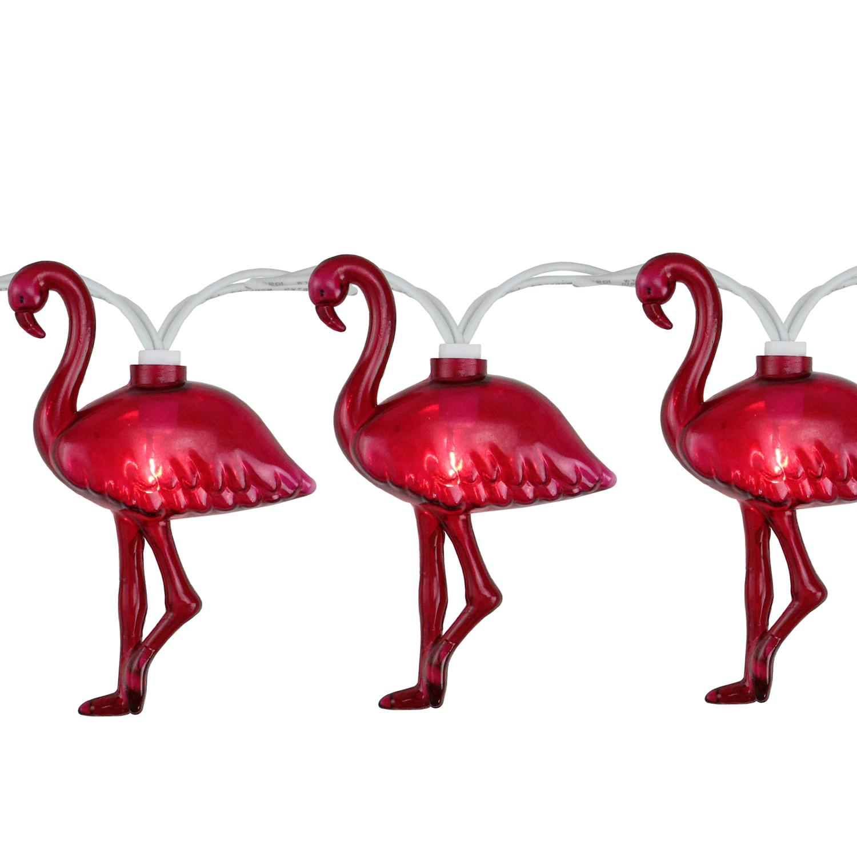 Set of 10 Pink Flamingo Summer Garden Patio Lights - White Wire