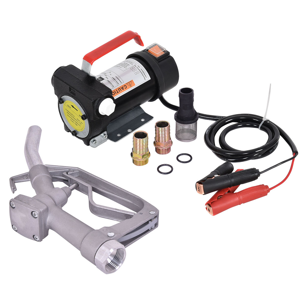 Costway 12V 10GPM Electric Diesel Oil And Fuel Transfer Extractor Pump w/ Nozzle & Hose