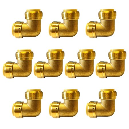 Copper Pipe Fittings (1/2' Push Fit Elbow Fitting 90 Degree ,Lead Free Brass Push-to-Connect Elbow Plumbing Fittings for Copper Pipe, PEX,)