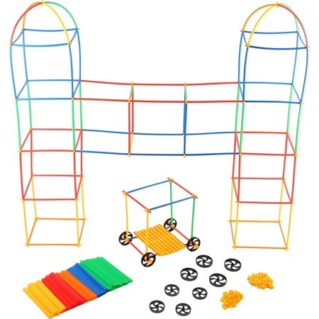 Kids Building Toys (Building Toys For Kids 400 Set Straws and Connector + Wheels - Colorful and Strong Kids Construction Toys With Special Connectors - Great Gift Building Blocks For Boys And Girls)