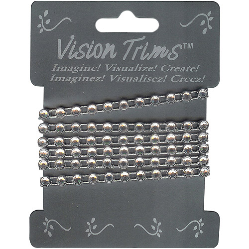 Vision Trims Geinuine Rhinstone Trim 36-Silver Multi-Colored