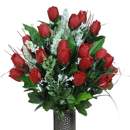 Red Rose Bud Artificial Bouquet, featuring the Stay-In-The-Vase Design(c) Flower Holder (LG1089)