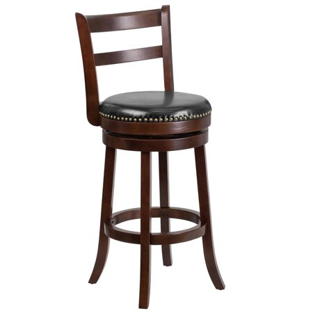 30'' High Cappuccino Wood Barstool with Single Slat Ladder Back and Black Leather Swivel Seat