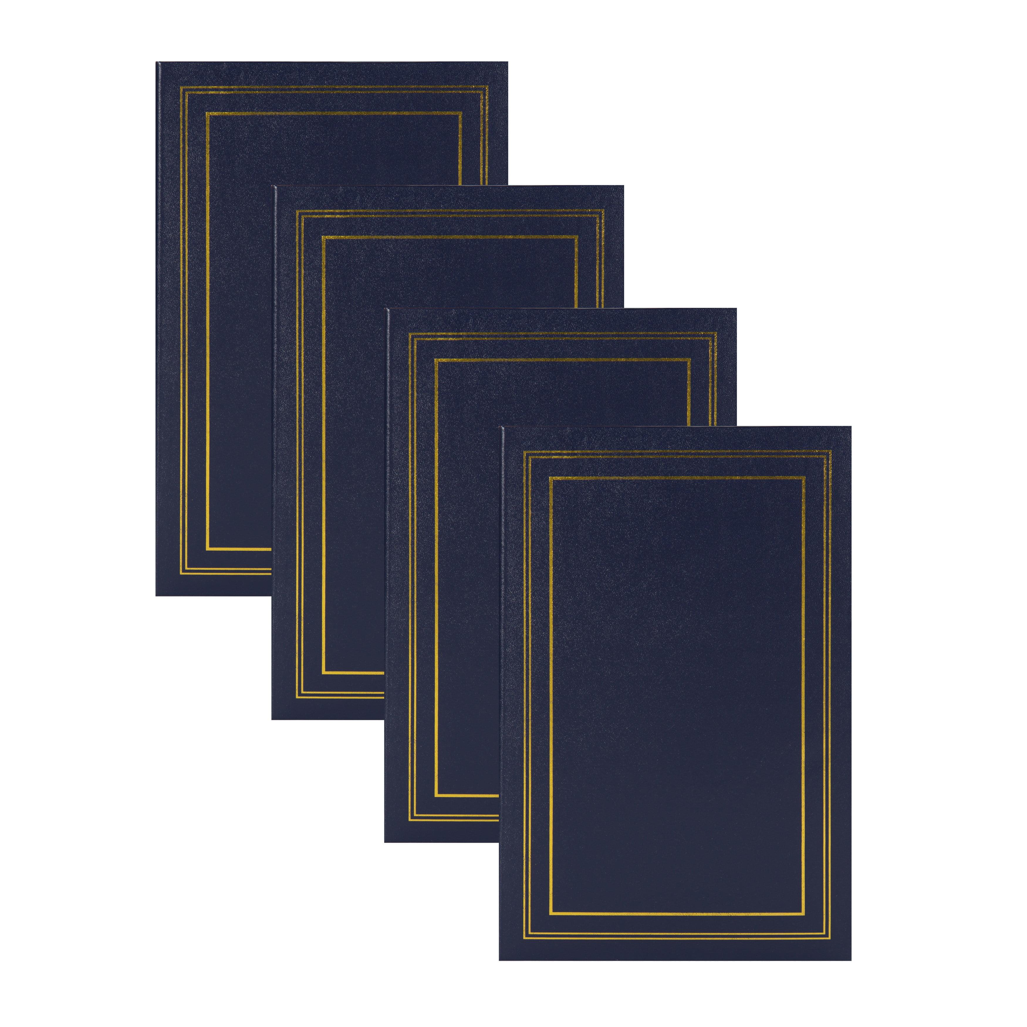 DesignOvation Traditional Photo Albums, Holds 300 4x6 Photos, Set of 4, Navy Blue by Uniek