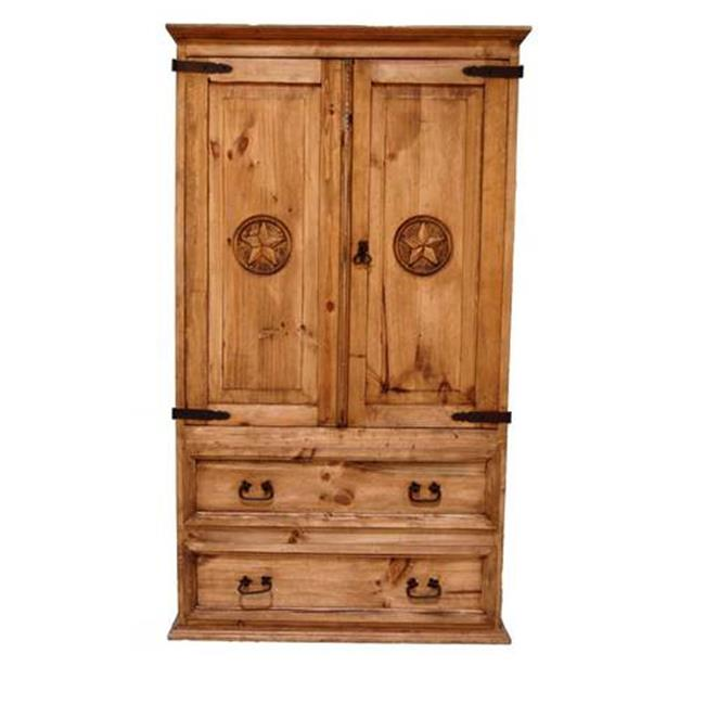 Million Dollar Rustic 01-1-10-04T-TX Tv & Video Armoire 2 Doors 2 Drawers With Star