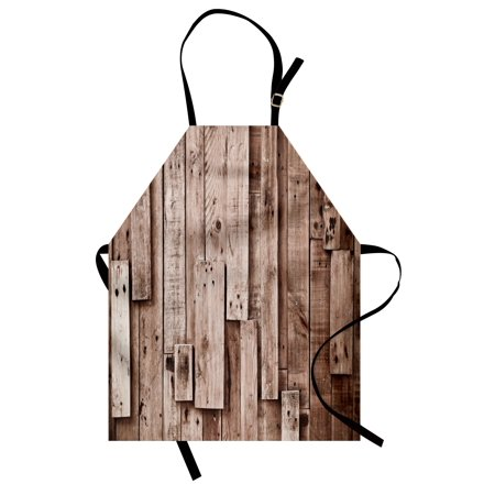 Wooden Apron Vintage Barn Shed Floor Wall Planks Sepia Art Old Natural Plywood Lodge Image Print, Unisex Kitchen Bib Apron with Adjustable Neck for Cooking Baking Gardening, Grey Brown, by