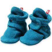 Zutano Booties Newborn Unisex Fleece Baby Booties For Baby Boys or Baby Girls Winter Slipper Socks  - Pagoda Blue- 3 Months - Zutano Cozie Booties