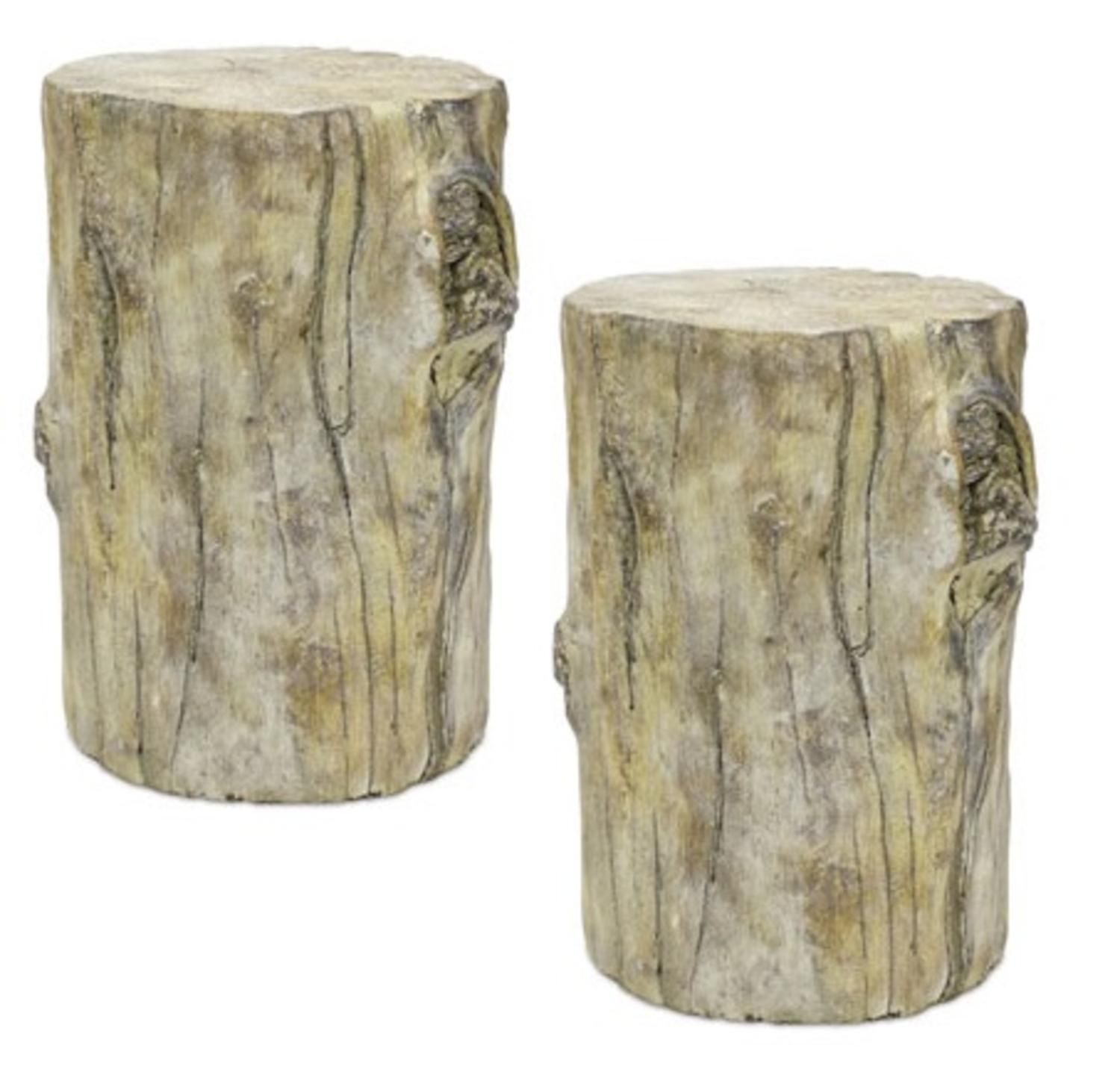 Set of 2 Natural Rustic Finish Cement Tree Trunk Accent and Garden Stands 8� by Melrose