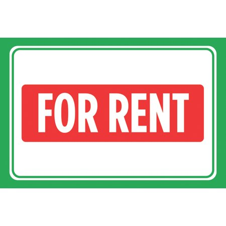 For Rent Red Green Signs Window Poster Real Estate Business Office Car Auto Large 12 X 18 Sign   Aluminum Metal