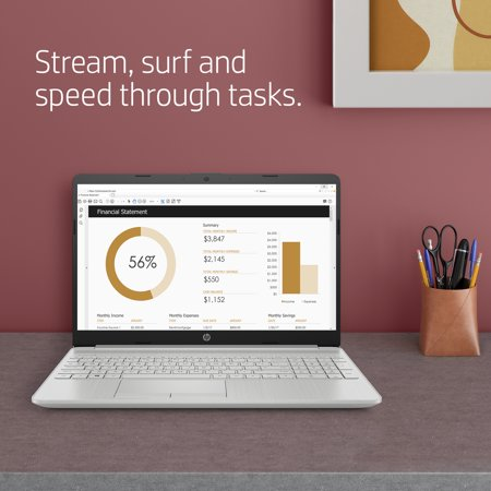 HP 15, AMD Ryzen 3 3250U, 4GB SDRAM, 1TB HDD + 128GB SSD, Natural Silver, Windows 10, 15-gw0010wm (Google Classroom Compatible)