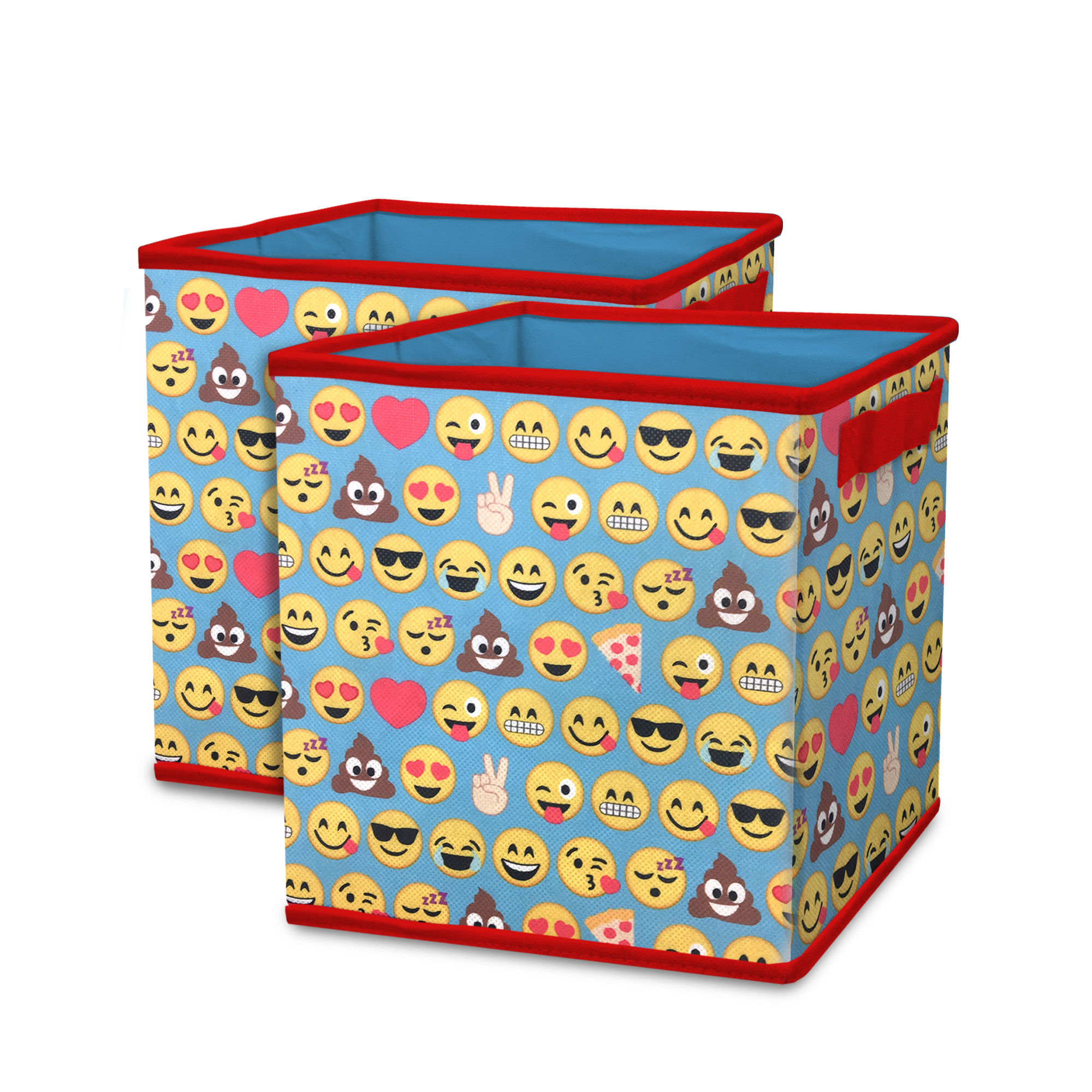 Charmant Emoji Pals All Over Collapsible 2 Pack Soft Storage Cubes