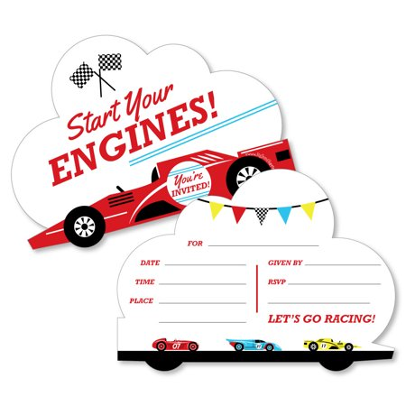 Cars Birthday Invitations (Let's Go Racing - Racecar - Shaped Fill-In Invitations - Race Car Birthday Party or Baby Shower Invitations-12)