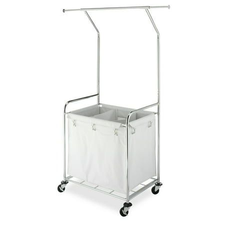 Commercial Rolling Laundry Center with Removable Liner and Heavy Duty Wheels