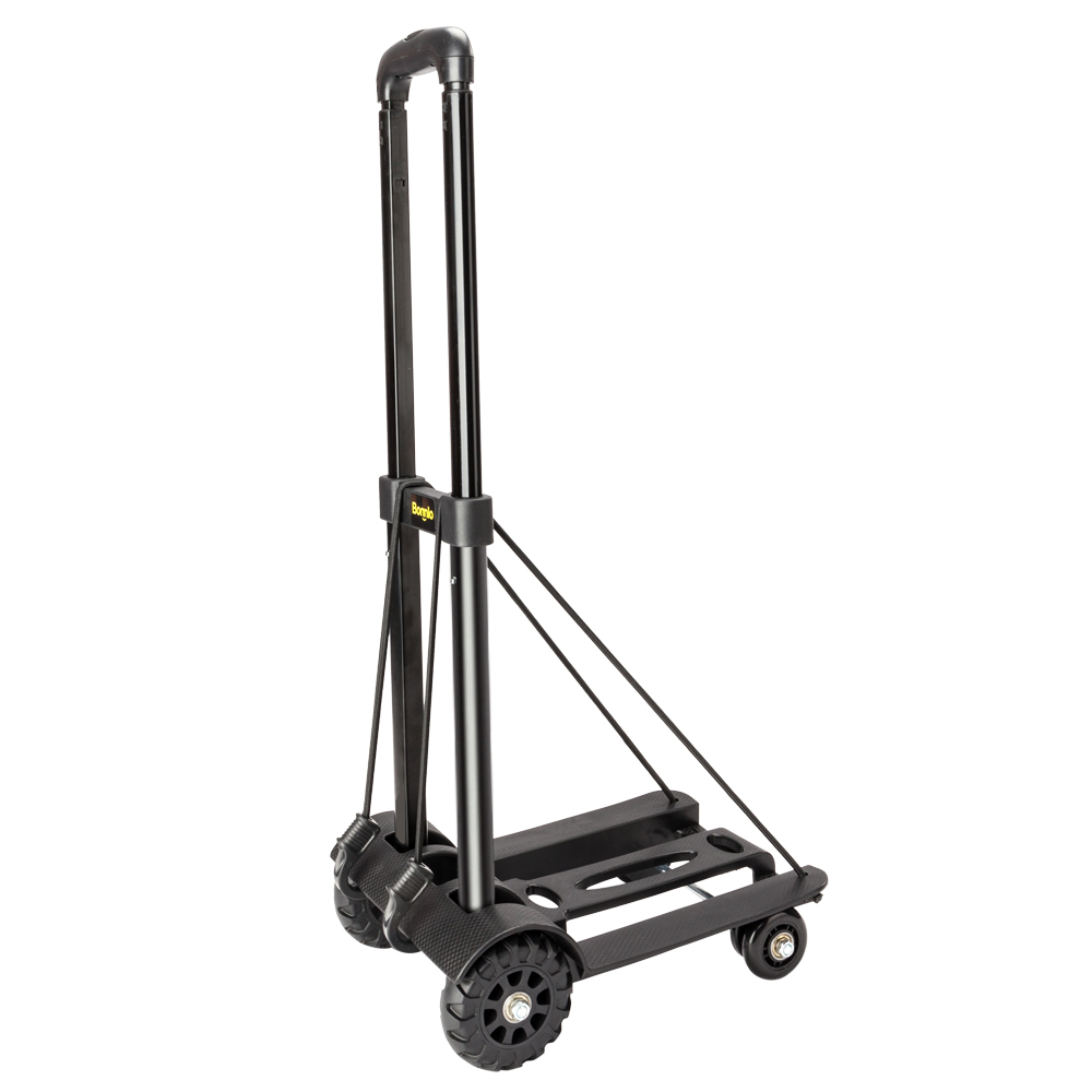 Color : Black Black Portable Heavy Duty Aluminum Folding Cart and Dolly Two-Wheeled Luggage Cart