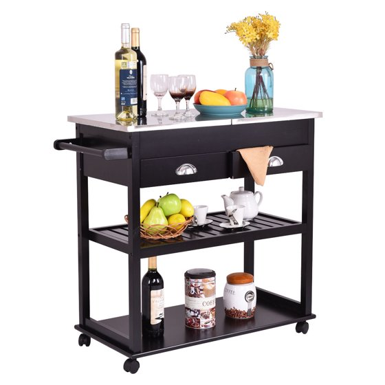 Flip And Fold Rolling Table Stainless Steel Wood: Costway Rolling Kitchen Trolley Cart Stainless Steel-Flip