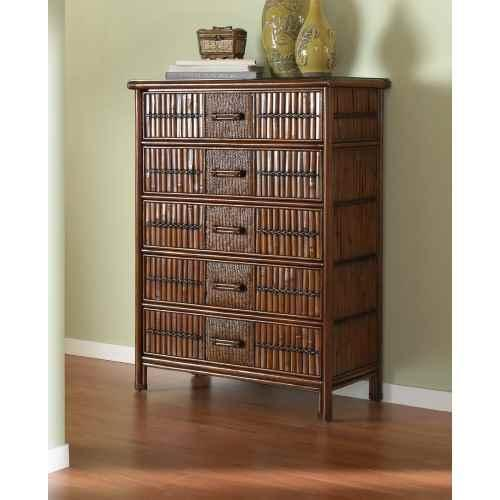 Polynesian 5 Drawer Chest in Antique Finish