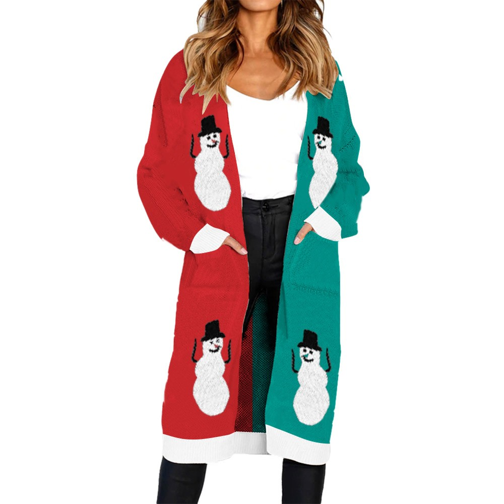 Mosunx Women Knitted Christmas Snowman Print Long Sleeve Cardigan T-shirt Sweater Coat