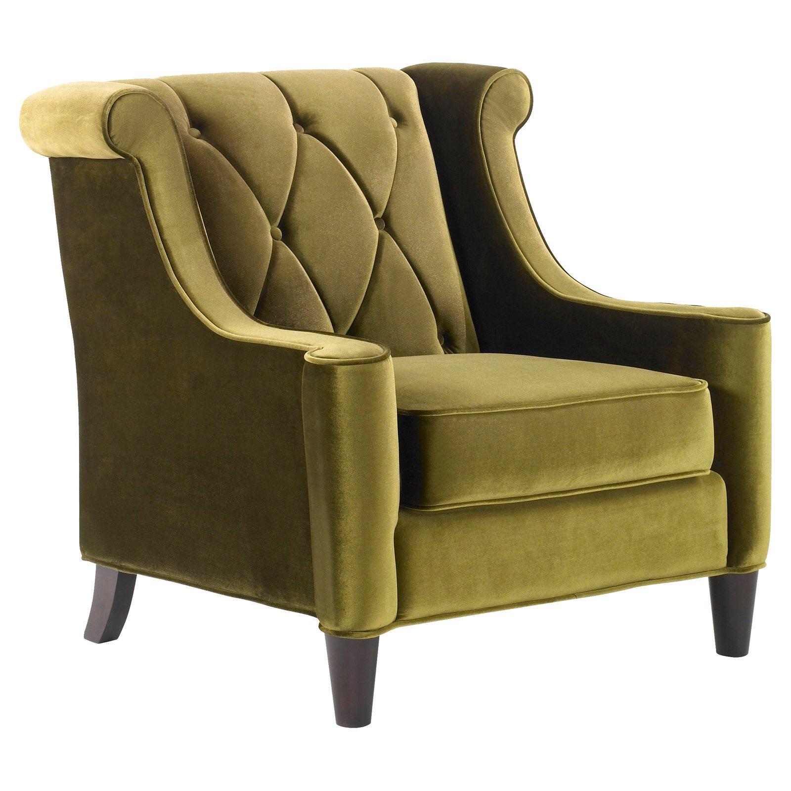 Armen Living Barrister Chair, Green Velvet with Green Piping