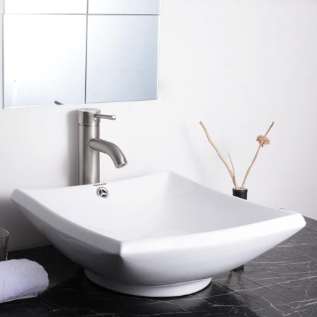 Aquaterior Square White Porcelain Ceramic Bathroom Vessel Sink Bowl Basin with Chrome Drain and (Overflow Corner)