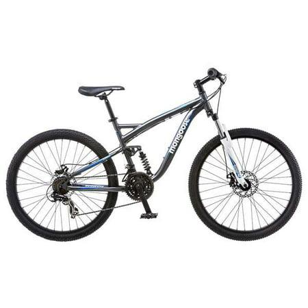 Mongoose Detour Men's 26 inch Full Suspension Mountain Bike, Bicycle  Silver/Blue