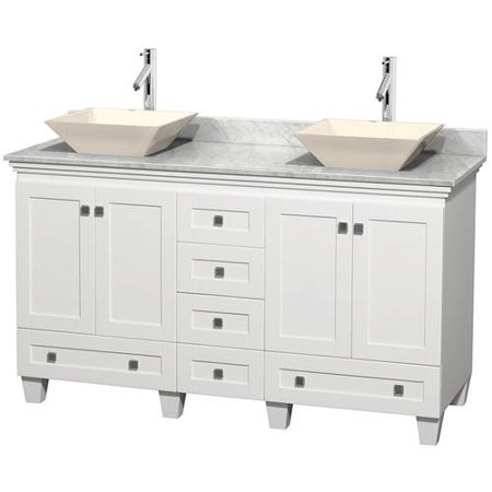 Wyndham Collection Acclaim 60 inch Double Bathroom Vanity in White, White Carrera Marble Countertop, Pyra Bone Sinks, and No Mirrors