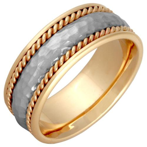 14k Two-tone Gold Men's Handmade Comfort-fit Hammered Rope Wedding Band Size 8.5