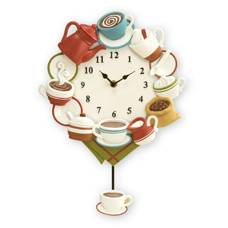 Coffee Cup Pendulum Wall Clock Kitchen Decor ()