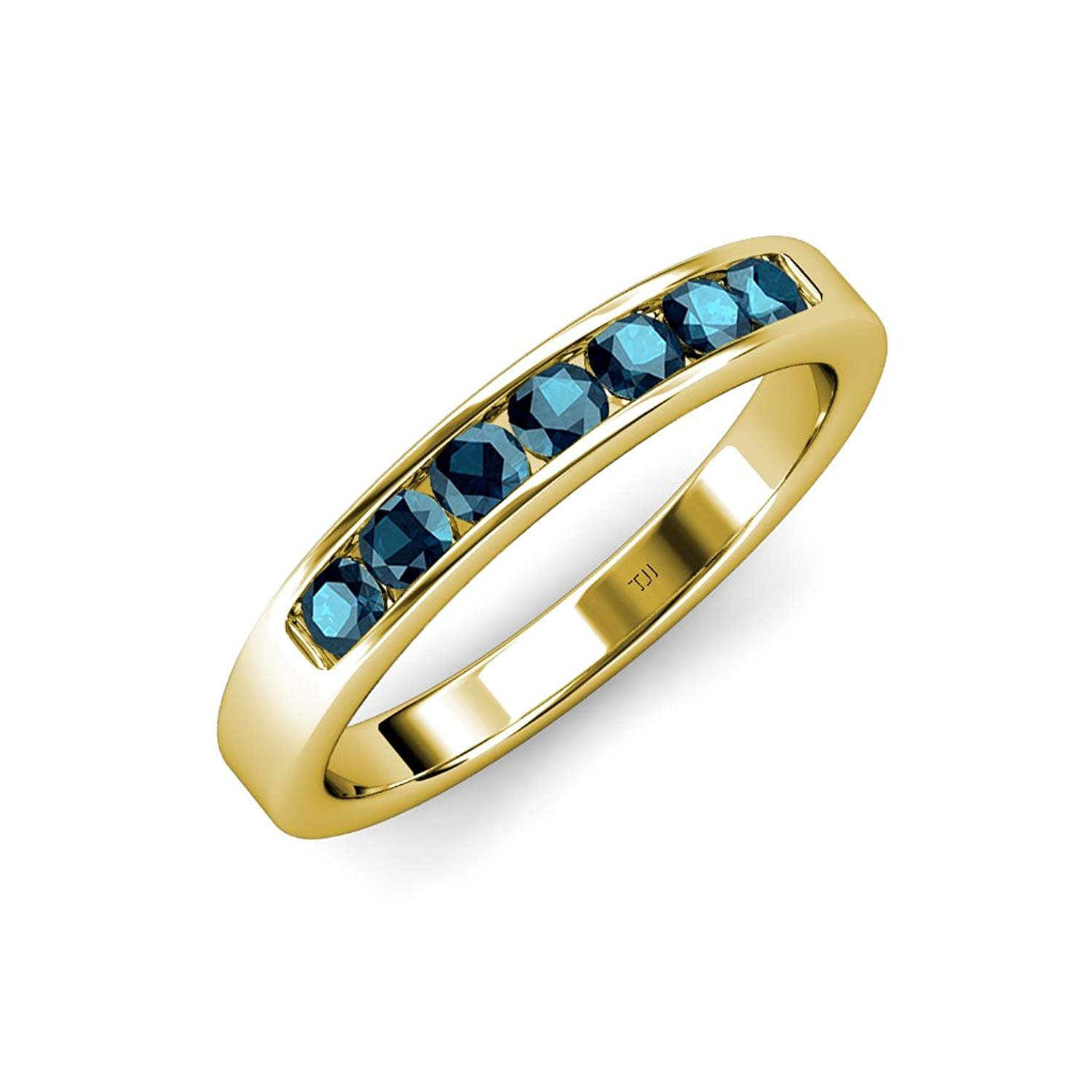 Blue and White Diamond 7 Stone Channel Set Wedding Band 0.70 ct tw 14K Yellow Gold.size 8 by TriJewels