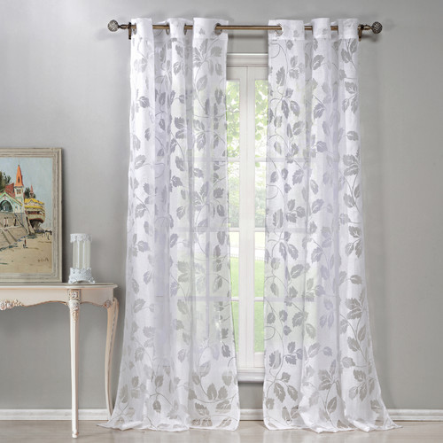 DR International Ivanna Burnout Nature / Floral Sheer Grommet Curtain Panels (Set of 2)