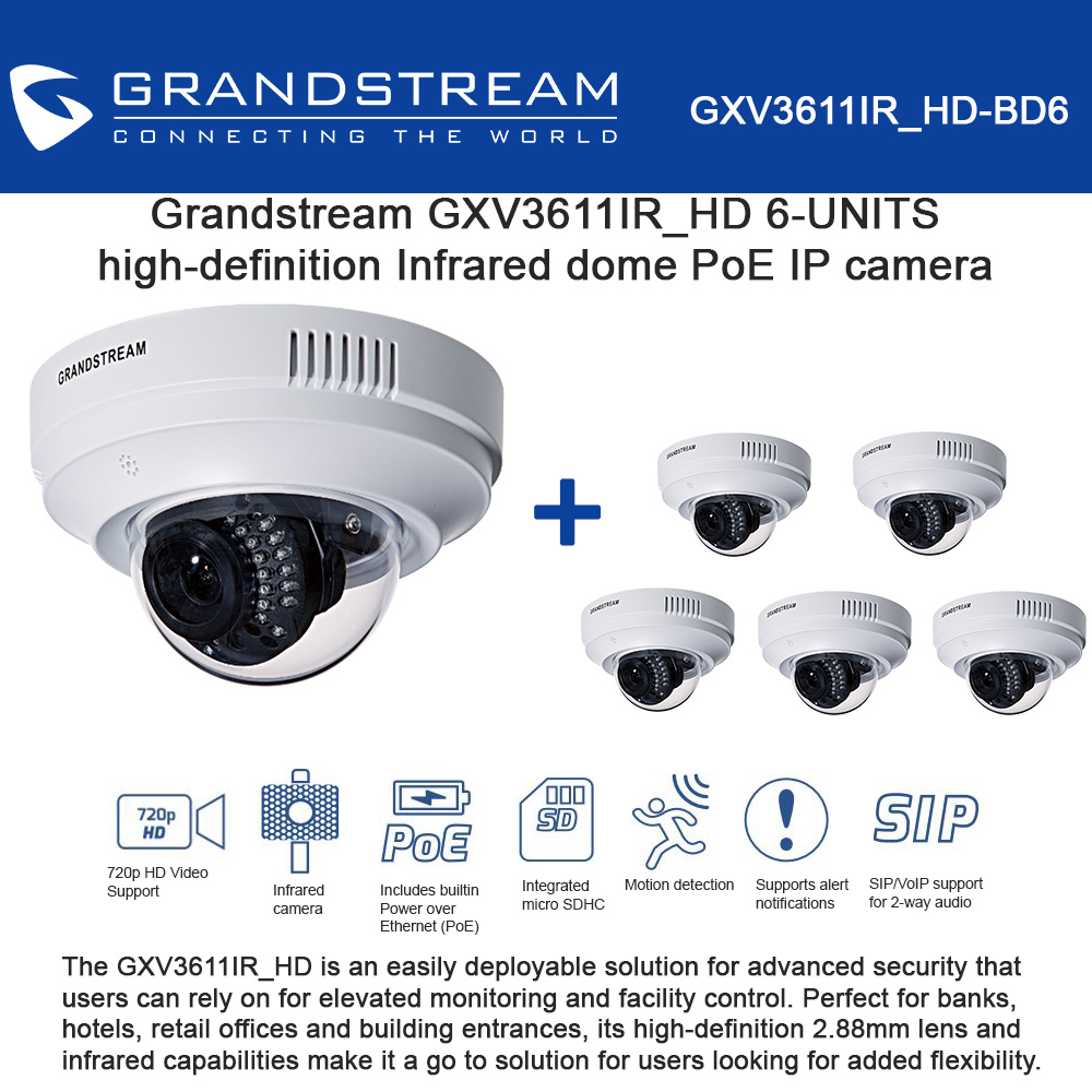 Grandstream GXV3611IR_HD 6-UNITS IP camera high-definition Infrared dome PoE