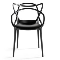 2xhome Black Stackable Contemporary Modern Designer Molded Plastic Chairs Assembled With Arms Open Back Armchairs for Kitchen Dining Chair Outdoor Patio Bedroom Accent Patio Balcony Office Work Garden