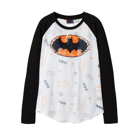 DC Superhero Girls Batgirl Sequin Long Sleeve Halloween Shirt