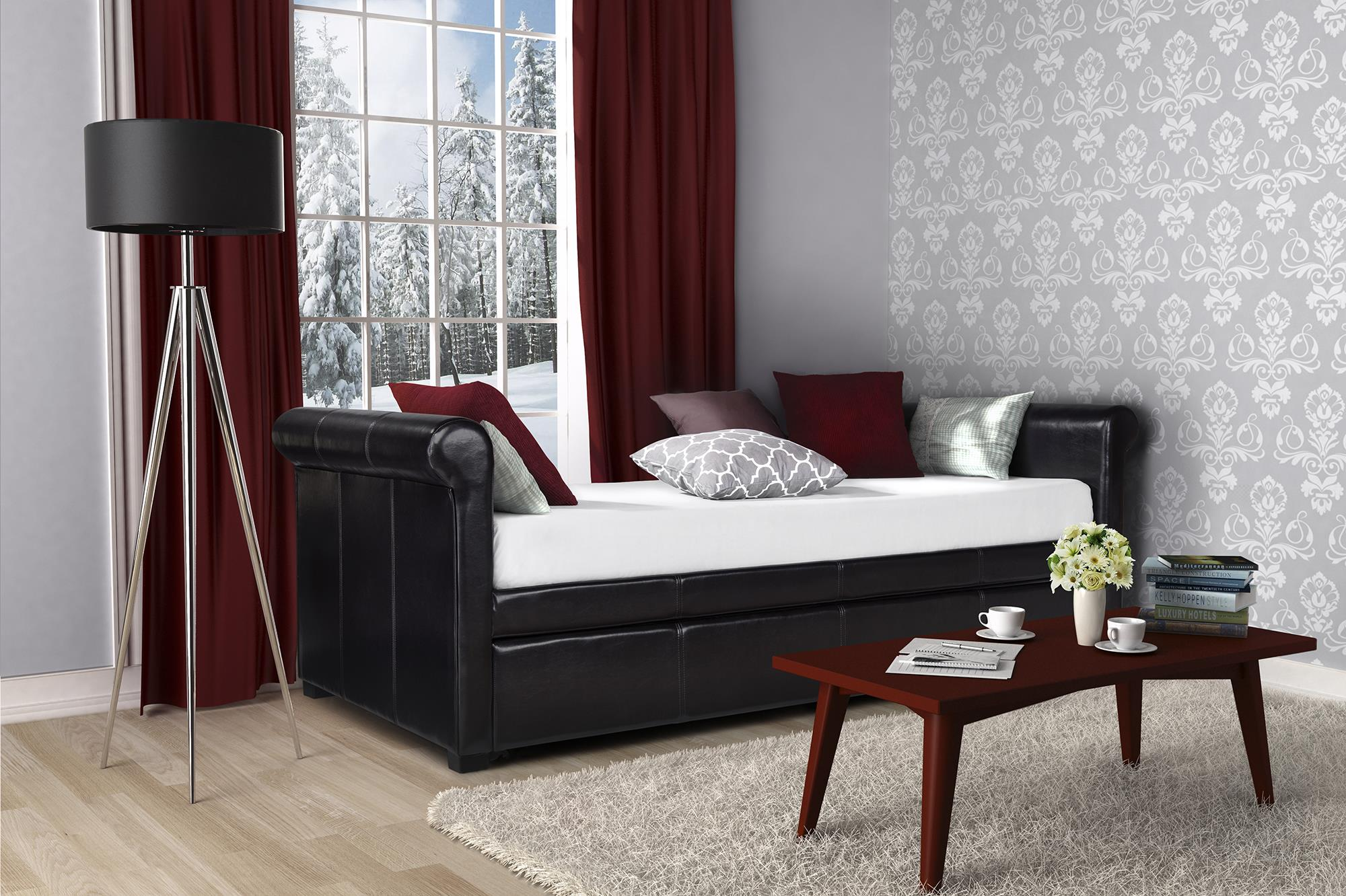 DHP Giada Upholstered Faux Leather Day Bed and Trundle, Brown by Dorel Home Products