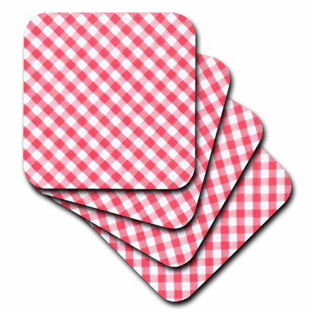 3dRose Red and white Gingham pattern diagonal checkered checks rustic retro country cottage dining kitchen - Soft Coasters, set of 4 Dining Set Coaster