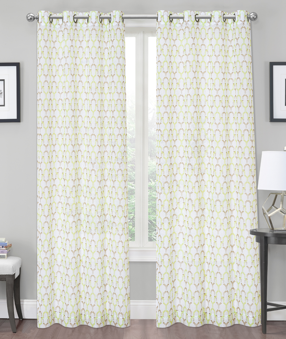 2 Pack: Charlton Luxurious Trellis Crushed Grommet Sheer Voile Curtains Lime by Regal Home Collections