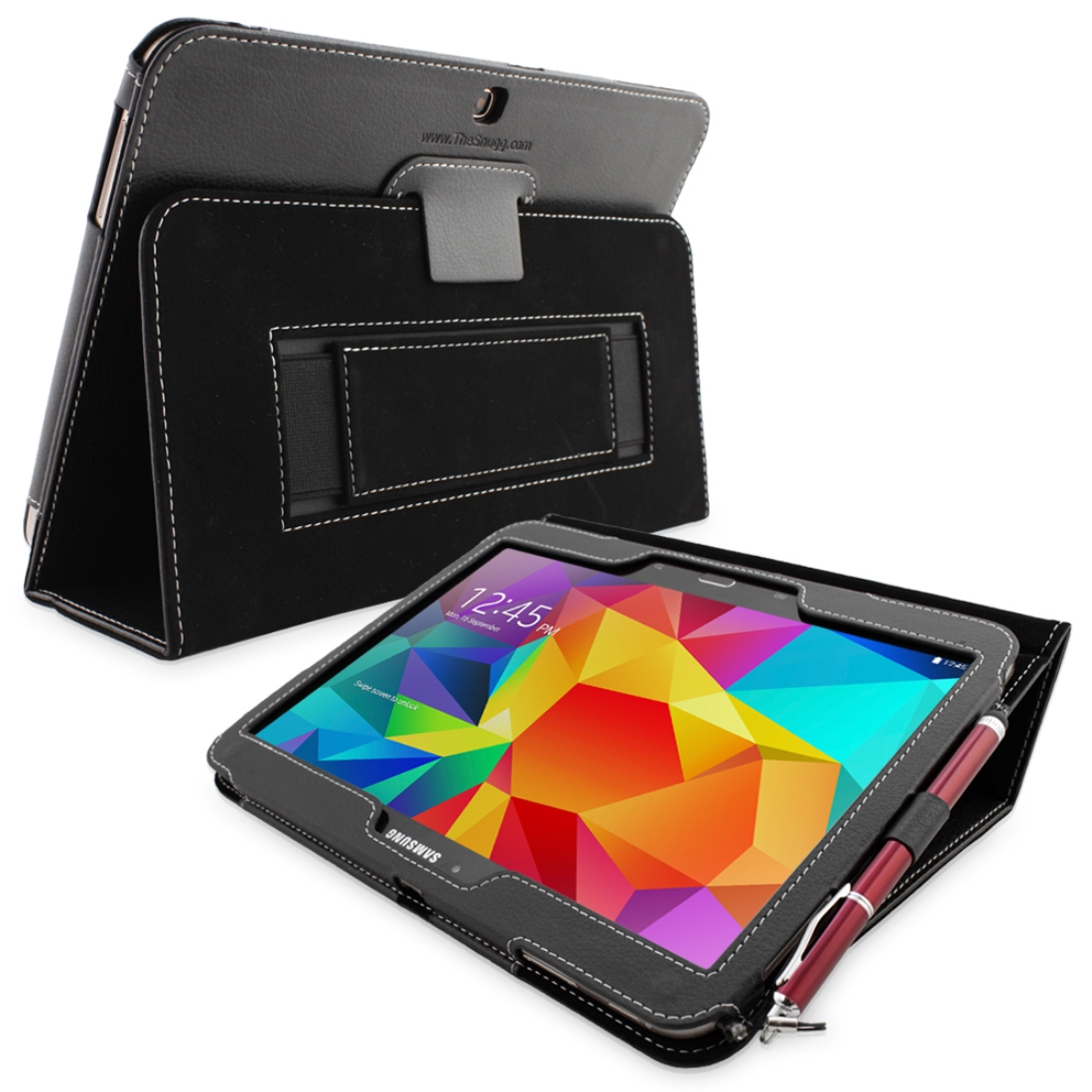 Snugg Black Leather Galaxy Tab 4 10.1 Case Cover & Flip Stand
