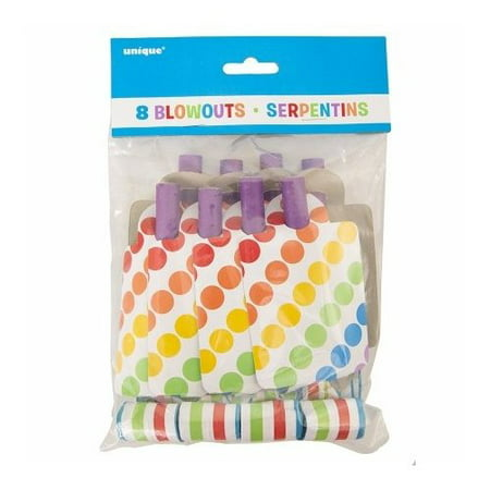 Rainbow Party Blowers, 8-Count (Party Blowers)