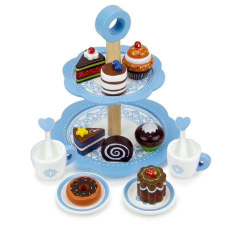 Tea Time Chocolate Pastry Tower With Two-Tier Classic Blue Dessert Tower, 8 Unique Pastries, And 2 Tea Cups, Saucers And Stirrers By Imagination Generation - image 2 de 6