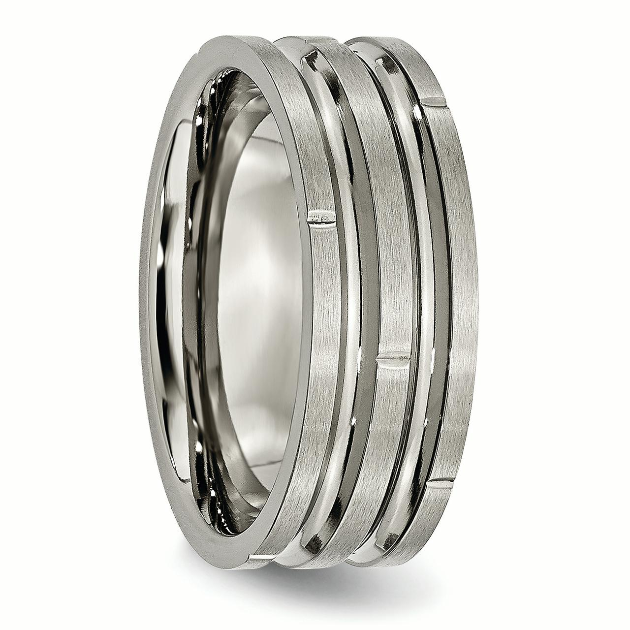 Titanium Notched Grooved 8mm Wedding Ring Band Size 8.50 Fashion Jewelry Gifts For Women For Her - image 1 of 6