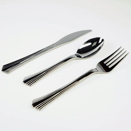 Efavormart 40 sets - Disposable Plastic Utensils Fork/Spoon/Knife - Total 120 Pcs (Colored Plastic Utensils)