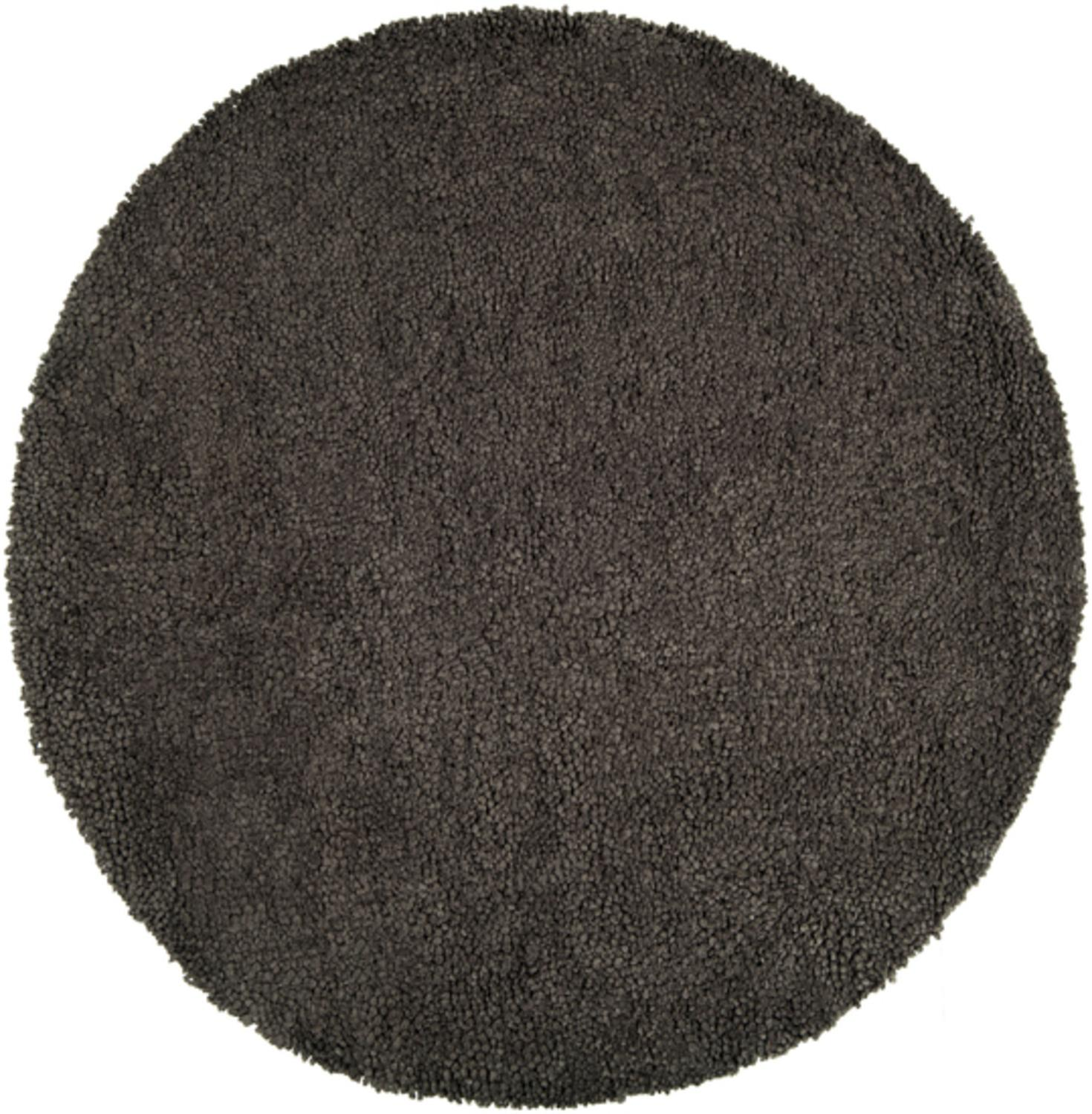 8' Solid Espresso Brown Hand Woven Round New Zealand Wool Shag Area Throw Rug