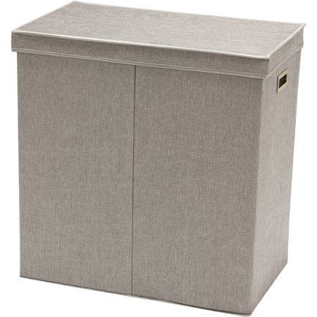 Greenway GFL6000GR Collapsible Double Sorter Laundry Hamper, Grey Linen ()