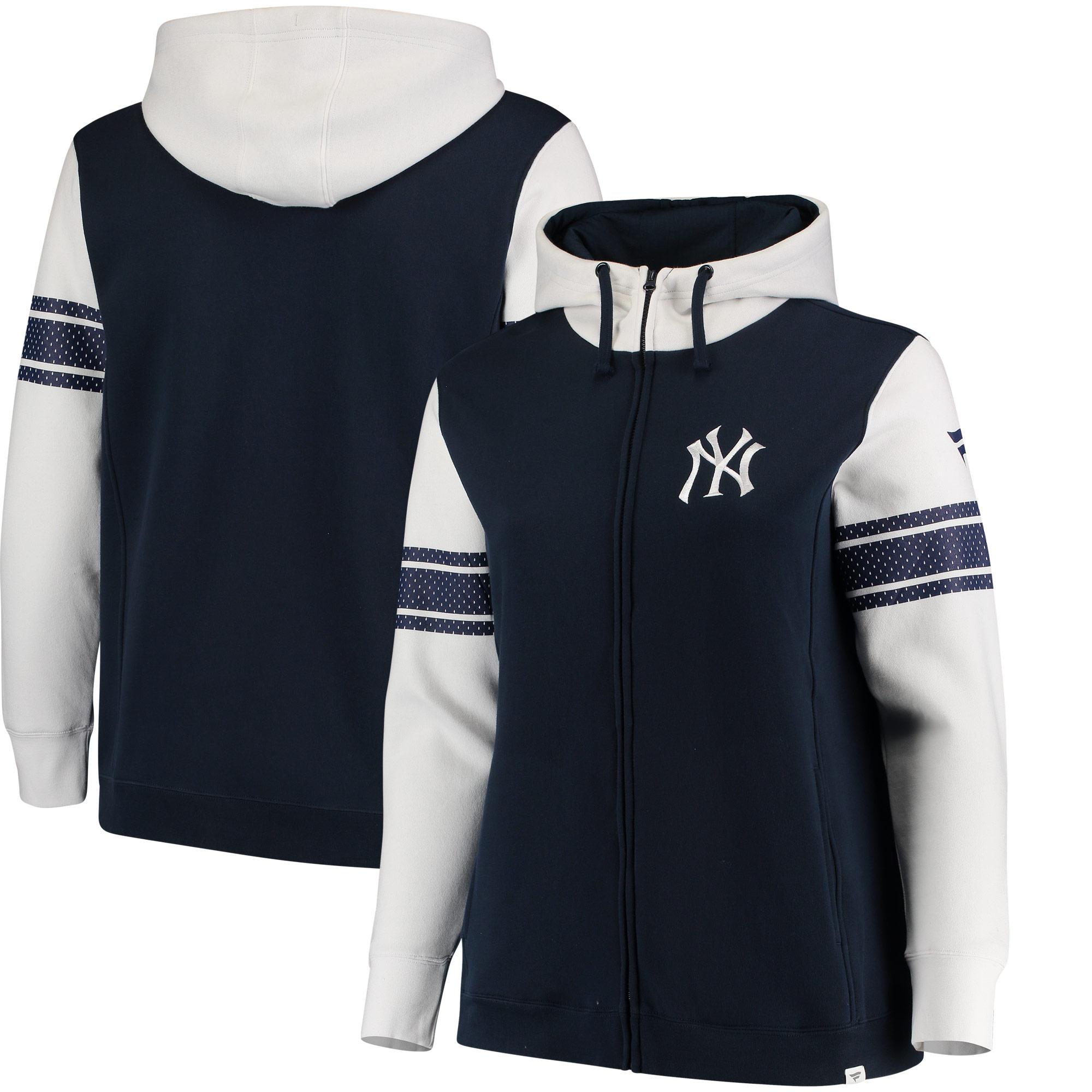 New York Yankees Fanatics Branded Women's Plus Size Iconic Fleece Full-Zip Hoodie - Navy