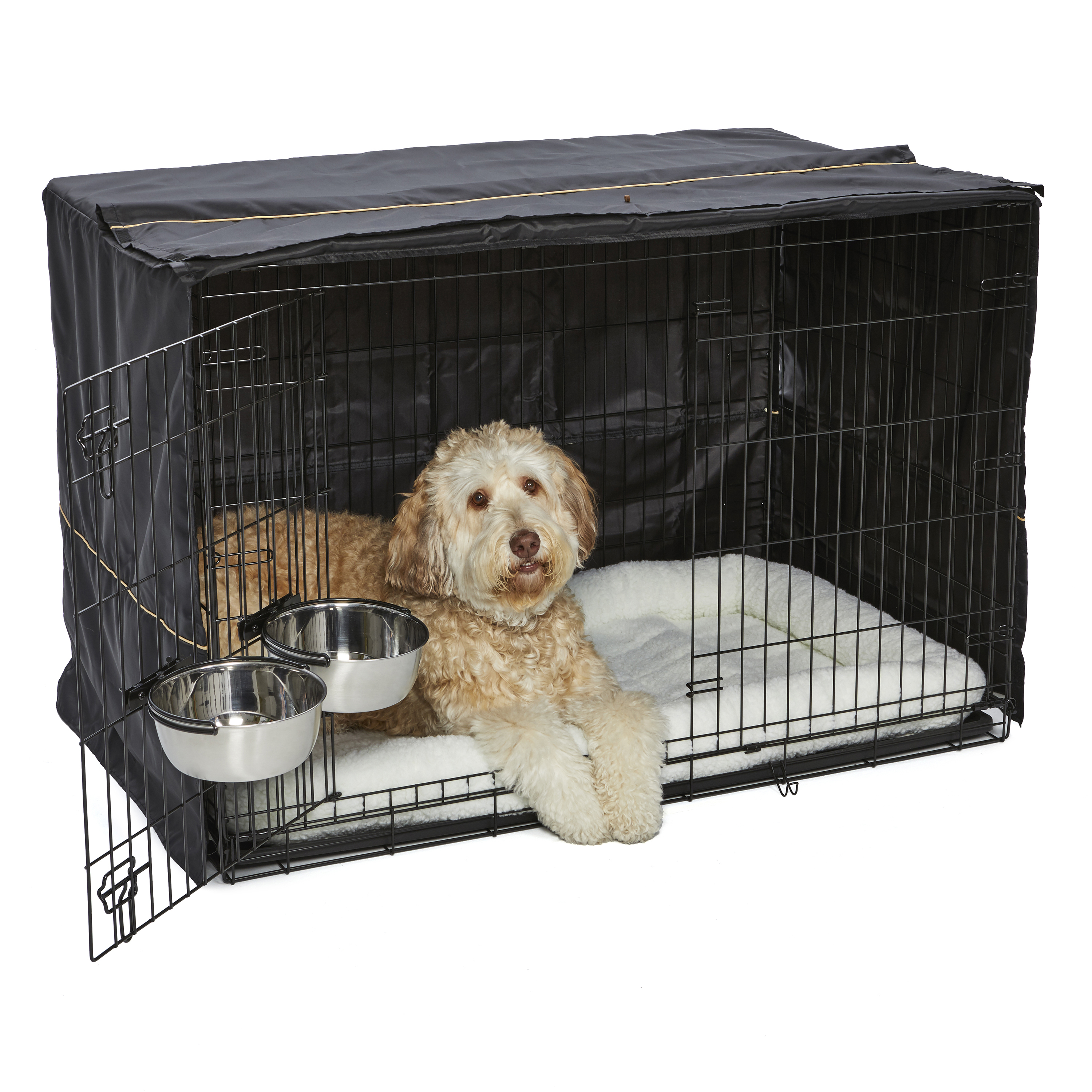 MidWest Homes for Pets XL Dog Crate Starter Kit | One 2-Door iCrate, Pet Bed, Crate Cover & 2 Pet Bowls | 48-Inch Ideal for XL Dog Breeds