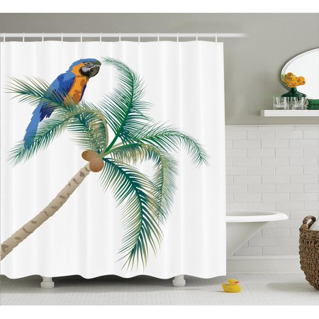 Parrots decor shower curtain set big parrot sitting on for Bird themed bathroom accessories