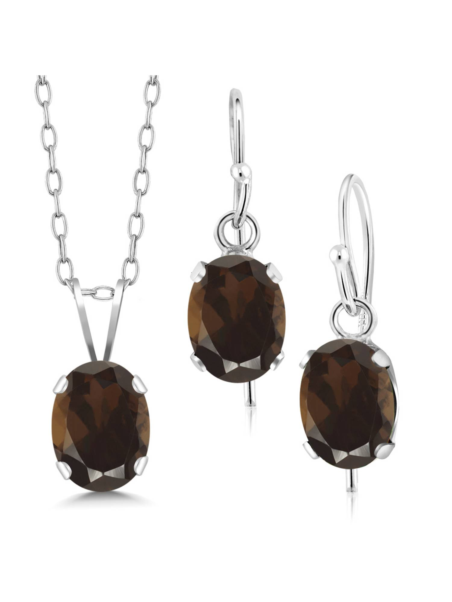 2.25 Ct Brown Smoky Quartz 925 Sterling Silver Pendant Earrings Set With Chain