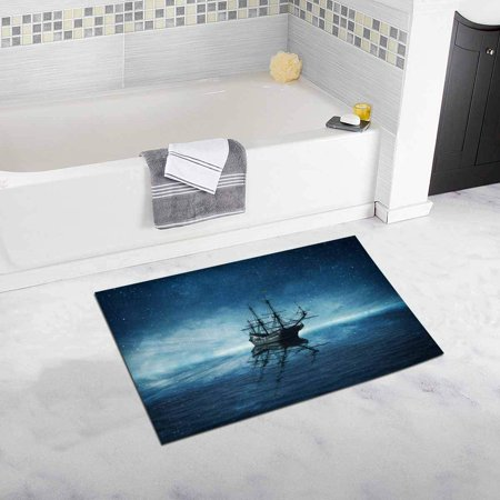 CADecor Ghost Pirate Ship Floating on A Cold Dark Blue Sea Landscape with A Starry Night Sky Background and Water Reflection Bath Mat Soft Bathroom Rugs Doormat 30x18 (Ships In The Night Mat Kearney Chords)