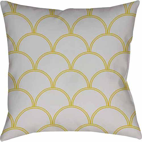 IDG Art Deco Circles Gray and Yellow Indoor Pillow