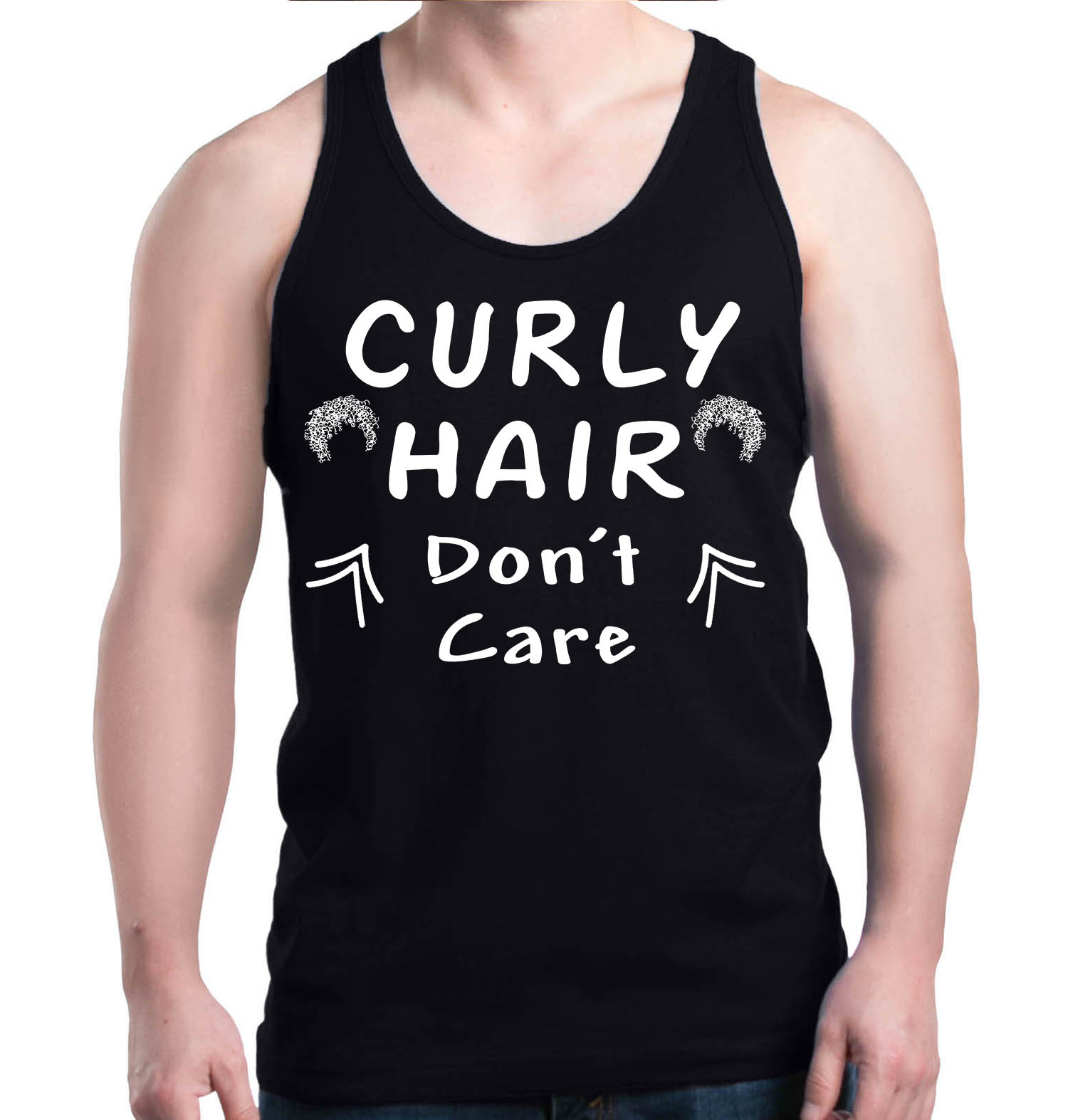 Shop4Ever Men's Curly Hair Don't Care Funny Graphic Tank Top
